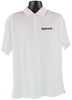 """White Nike dri-fit short-sleeve polo with black embroidered """"Summit"""" logo on right chest corner"""