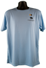 Front view of light blue short-sleeve performance fabric tee with small bear/paw and summit logos in black font on top right chest corner.