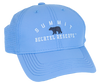 """baby blue performance fabric baseball cap with small black bear silhouette centered on front, with """"Summit"""" arched above in white embroidery and flat """"Bechtel reserve"""" embroidery below."""