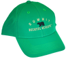 "Grass green performance fabric baseball cap with small black bear silhouette centered on front, with ""Summit"" arched above in white embroidery and flat ""Bechtel reserve"" embroidery below."