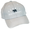"Light gray performance fabric baseball cap with small black bear silhouette centered on front, with ""Summit"" arched above in white embroidery and flat ""Bechtel reserve"" embroidery below."