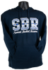 """Dark Navy blue hooded cotton sweatshirt with large letters """"SBR"""" filled with white and blue tribal pattern, and with script """"Summit Bechtel Reserve"""" beneath in white."""
