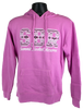 """Pink hooded cotton sweatshirt with large letters """"SBR"""" filled with white and blue tribal pattern, and with script """"Summit Bechtel Reserve"""" beneath in white."""