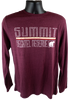 """Closer view of deep maroon long sleeve cotton heathered tee with large retro """"Summit"""" lettering in white outline, above the horizontal lines (yellow, white, red) and outlined """"bechtel reserve"""" in more white outline, with a white black bear silhouette."""