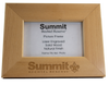 Straight-on view of 4x6 picture frame with thick wooden borders and engraved Summit logo centered on the bottom.