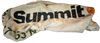 Relaxed view of Summit blanket showing Summit logo horizontally.