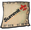 Unraveled view of Summit blanket - the blanked is khaki with a black border. Around all edges are the coordinates of the camp in black. Across the middle is a diagonal Summit logo (Summit in black, fleur-de-lis and Bechtel Reserve in orange).