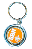 Flat view of keychain: center is orange circle with SBR and fleur-de-lis, and outer ring is pewter. Connected to classic keychain.