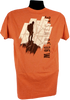 Burnt Orange short sleeve men's tee. Back of the tee screen print is a hiker standing on top of a mountain with a backpack (black),  a large compass (soft cream & tans) background, the Summit ordinance is horizonal (black)  -Back