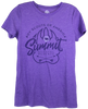 Ladies cut, short sleeve Tshirt, comes in grape and dark pink with a large bear paw in the center. Inside the paw is wording, Summit (in large print), Bechtel Reserve below it (small print) and crossed arrows  below that. Top center of the claw is the Summit Bear/Paw logo.  At the top of large paw, in an arch, it says, Boy Scouts of America.