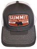Trucker Cap with white mesh back and dark gray front. A rust orange colored patch front center that says, Summit Bechtel Reserve, has a black bear in the center of the patch with established date of 2013 and has a plastic snap closure.- Front View