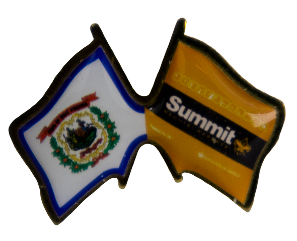 Small Pin with adjoined West Virginia state flag and orange/black Summit flag