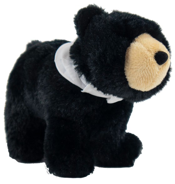 "Stuffed black bear wearing a white necker with Summit Bear/Paw logo.  Measures 9"" x 6"" x 3""."
