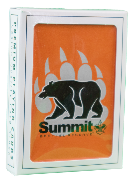 Orange playing cards with the Summit Bear/Paw Logo.