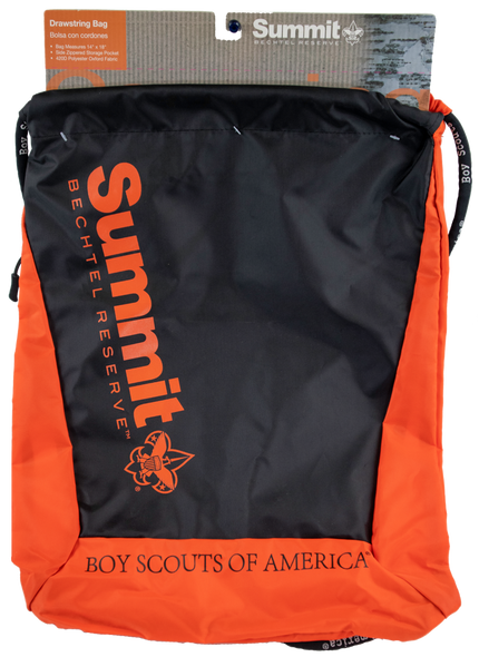 Orange and black draw string bag with the wording, Summit Bechtel Reserve, screen printed vertically on the front