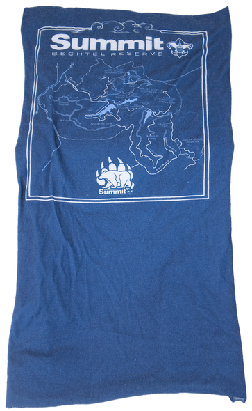 Blue sublimated Neck Gaiter with Summit Map