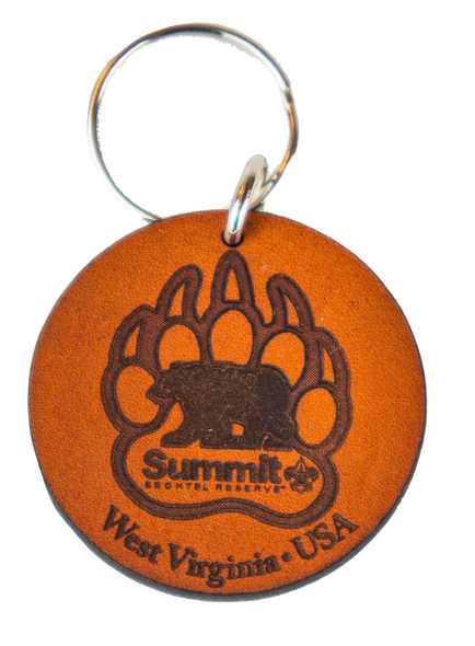 Round Leather Keychain with Summit Bear Paw Logo