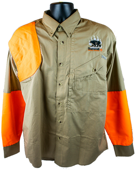 Khaki/Blaze Orange Long Sleeve Hunting Shirt
