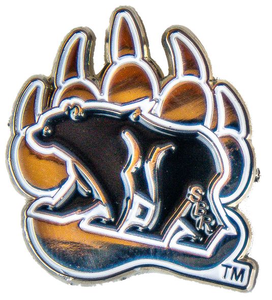 Small lapel pin with bear/paw logo (silver paw, black bear) with white outlining