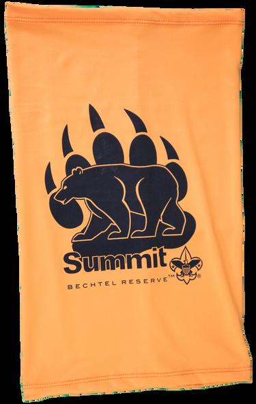 Orange cooling neck gaiter with Summit Bearpaw logo