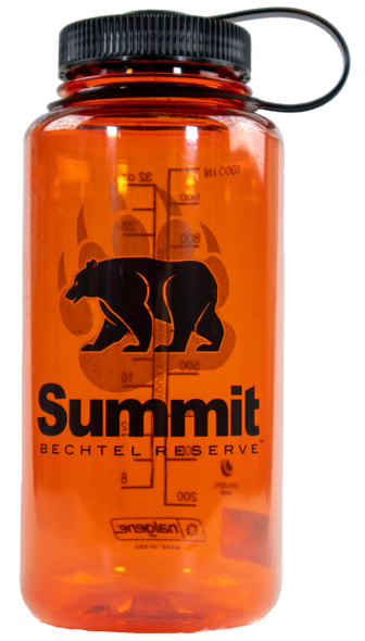 32-oz wide-brim Nalgene bottle of various colors with black bear/paw and Summit logos