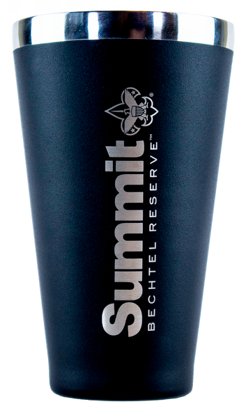matte black Hydroflask 16 oz. Tumbler -Front with vertical Summit logo