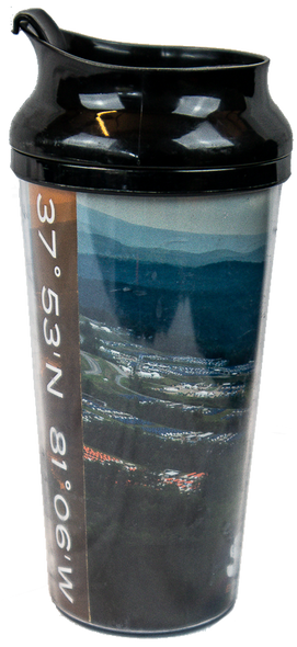 plastic drinking tumbler with black lid, panoramic view of Summit during Jamboree around body, and Summit logo across bottom.