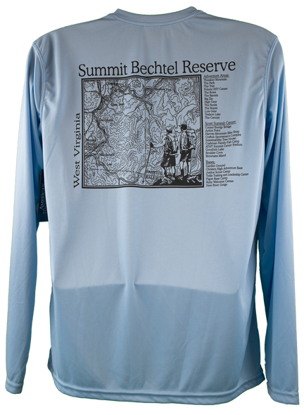 back of shirt - light blue performance fabric with rectangular topo map of Summit and list of notable camp locations on right