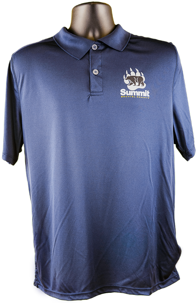 Navy blue polo shirt with performance fabric and small bear/paw logo in right chest corner (gray paw, black bear and Summit lettering)