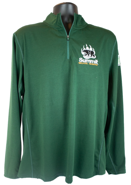 Forest green long sleeve 1/4 zip pullover with small bear/paw logo in right chest corner (gray paw and summit lettering, and black bear)