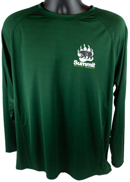 Forest Green performance fabric long sleeve tee with small bear/paw logo in right chest corner (light gray paw, black bear and Summit lettering)