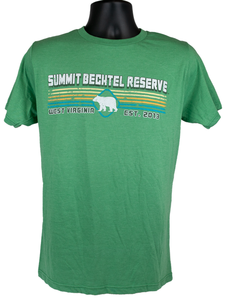 "light green cotton tee with white ""Summit Bechtel Reserve"" lettering above white bear shape overlayed on 4 horizontal colored lines, centered on chest"