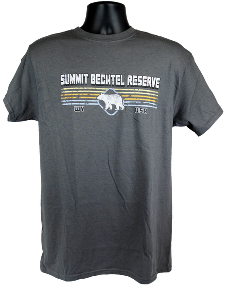 "Dark Gray cotton tee with white ""Summit Bechtel Reserve"" lettering above white bear shape overlayed on 4 horizontal colored lines, centered on chest"