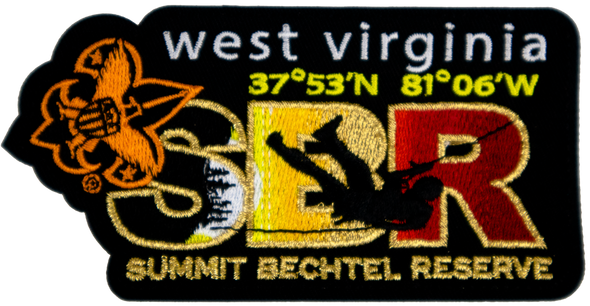 "Black rectangular patch with white ""west virginia"" lettering on top, large ""SBR"" letters in colors black, yellow, and red respectively, orange angled fleur-de-lis in top left corner, and horizontal silhouette of person repelling across the patch from right to left."
