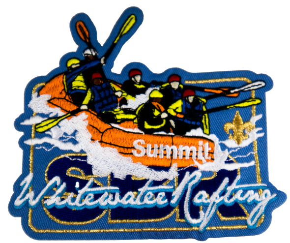"Rectangular light blue patch featuring dark blue letters ""SBR"" covered by white script ""Whitewater Rafting"" and large icon of a orange Summit-branded raft with several rafters inside, cresting a whitewater wave."