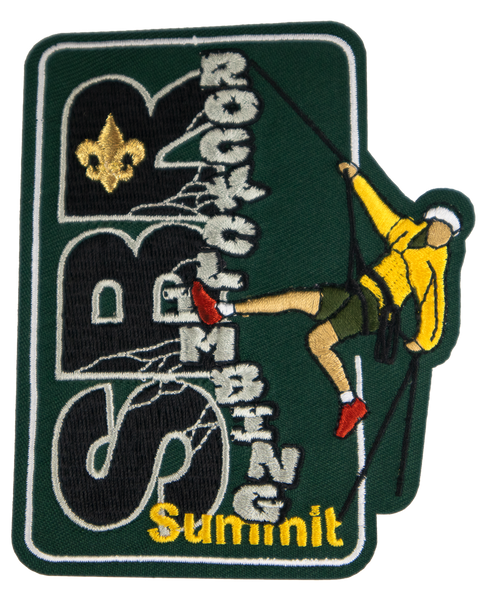 "A forest green rectangular patch, oriented portrait-style, with horizontal black lettering ""SBR"" and vertical angled lettering ""rockclimbing"" imitating a rock wall, with a climber in a yellow jacket repelling down."