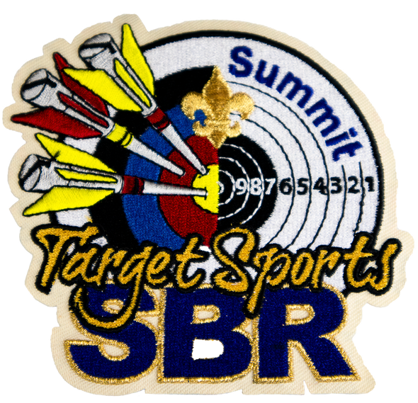"Circular patch with multicolored arrows penetrating a white target saying ""Summit"", with large dark blue ""SBR"" lettering at bottom covered by ""Target Sports"" script"