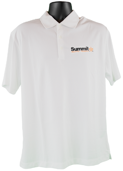 "White Nike dri-fit short-sleeve polo with black embroidered ""Summit"" logo on right chest corner"