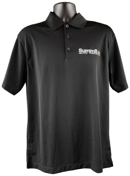 "Black Nike dri-fit short-sleeve polo with white embroidered ""Summit"" logo on right chest corner"