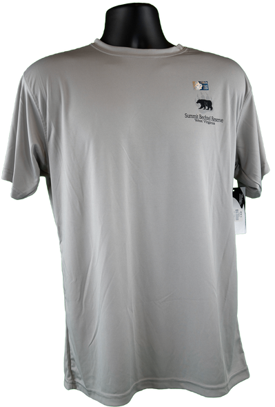 Front view of gray short-sleeve performance fabric tee with small bear/paw and summit logos in black font on top right chest corner.