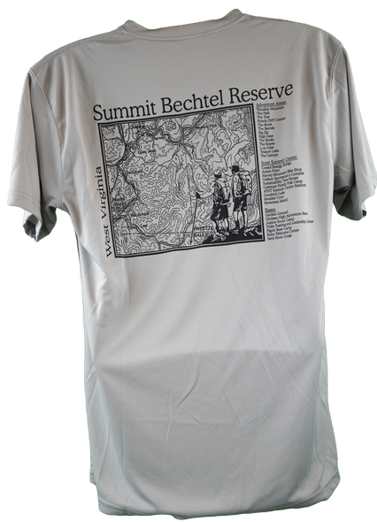 back view of gray short-sleeve performance fabric tee with rectangular topo map view of Summit and list of notable camp locations, all in black.