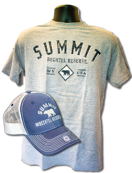 "Gray tee with large arched ""summit"" lettering  in dark blue, above smaller lettering ""Bechtel Reserve"" above a small black bear sillhouette between the letters ""WV"" and ""USA"". Superimposed on the t-shirt is a trucker hat with navy blue front and white mesh back with same logo in white embroidery."