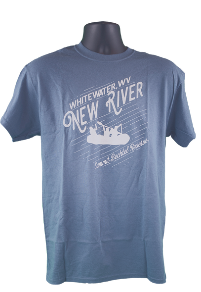 "Indigo blue shirt with angled upward wording ""Whitewater, WV"" smaller above large scripted lettering ""New River"", below which there is a silhouette of a whitewater raft full of people. below this is more angled writing ""Summit Bechtel Reserve"". All print is in white."