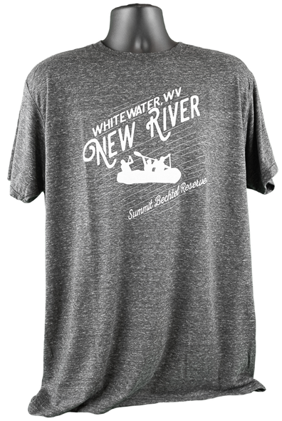 "Dark gray heathered shirt with angled upward wording ""Whitewater, WV"" smaller above large scripted lettering ""New River"", below which there is a silhouette of a whitewater raft full of people. below this is more angled writing ""Summit Bechtel Reserve"". All print is in white."