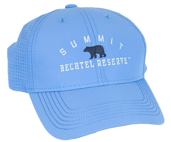 "baby blue performance fabric baseball cap with small black bear silhouette centered on front, with ""Summit"" arched above in white embroidery and flat ""Bechtel reserve"" embroidery below."