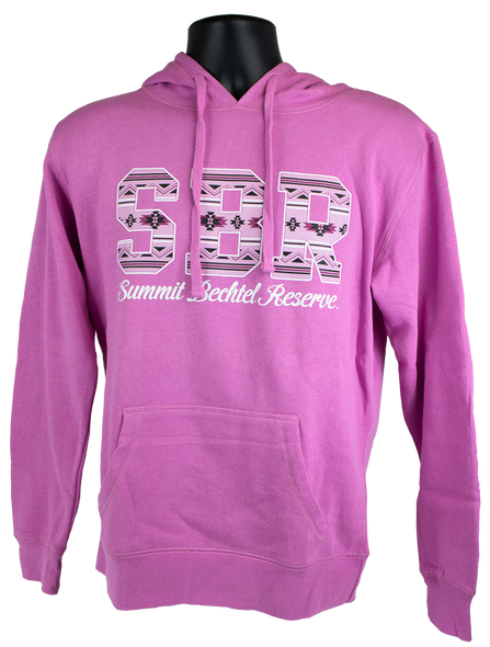 "Pink hooded cotton sweatshirt with large letters ""SBR"" filled with white and blue tribal pattern, and with script ""Summit Bechtel Reserve"" beneath in white."