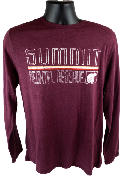 "Closer view of deep maroon long sleeve cotton heathered tee with large retro ""Summit"" lettering in white outline, above the horizontal lines (yellow, white, red) and outlined ""bechtel reserve"" in more white outline, with a white black bear silhouette."