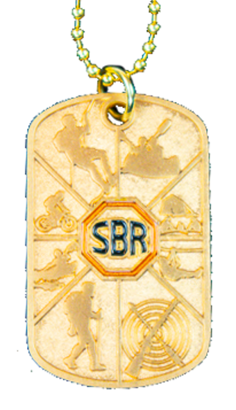 vertical view of dog tag with Brass silhouettes of Activities. Raised in the center is a orange Summit logo. The tag is connected to a gold chain.