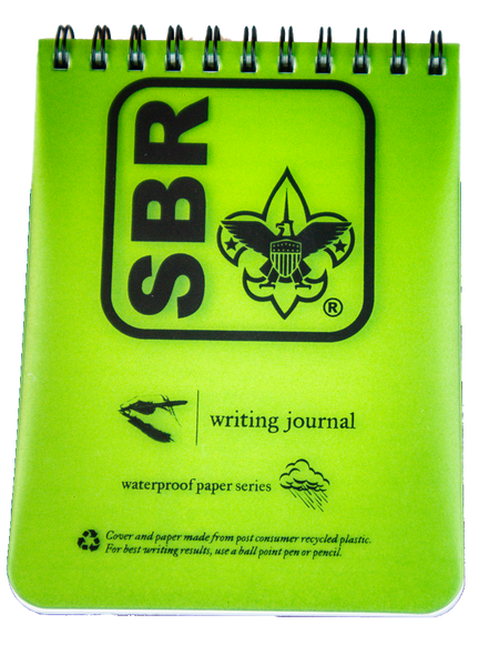 "Front view of notebook: green rectangular plastic front with large black SBR button logo and ""waterproof paper series"""