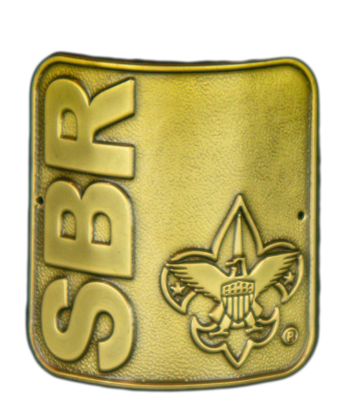 Square brass medallion for your hiking stick. Bold lettering SBR vertical on the left side and the BSA Fleur-de-lis on the right side.